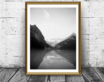 Reflection Print, Mountain and Lake Photo Print, Reflection in Water Poster, Black and White Nature Print, Peace in Nature, Calmness