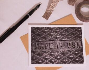 Handmade Blank Folded Greeting Card - Made in USA