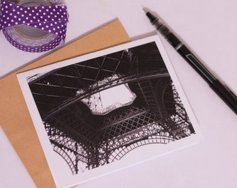 Blank Folded Greet Card Set - Eiffel Tower Paris Photographic Print