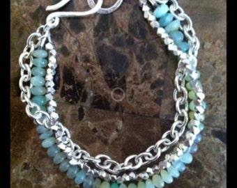 Triple strand bracelet - blue Peruvian Opal