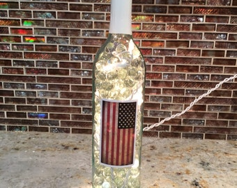 Flag Lighted Wine Bottle