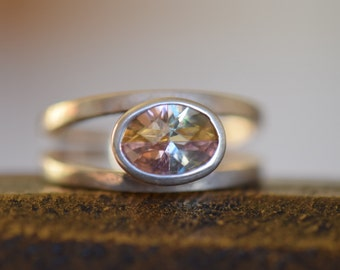 Vintage Pastel Gemstone Silver 925 Ring, US Size 5.0, Used