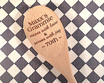 Grandma Mixes with Love - Spoon for Grandma - Personalized - Nana - Mimi - MawMaw - Gifts for Grandparents - Mother's Day Gift