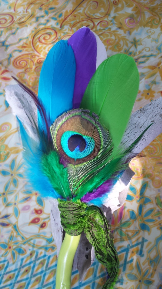 Smudge Fan Green Blue Purple Peacock