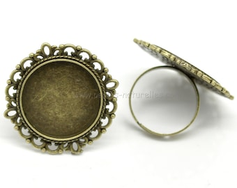 20mm - 1/10/50/100 - Cabochon Ring - Antique Bronze Adjustable Cabochon Ring