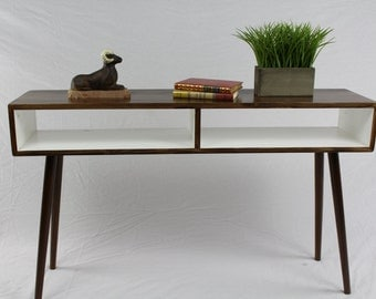 Mid Century Modern Console/Entry Way Table with Cubbies/two tone