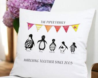 Personalised Monochrome Penguin Family Cushion
