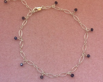 Iolite and Sterling Silver Anklet