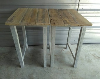 pair of coastal style reclaimed wood rustic tall end tables