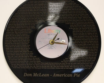 Don McLean American Pie Laser Etched Vinyl LP Record Battery Operated Wall Clock Great Gift For Him, Great Gift For Her, Music Lover Gift