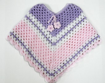 Pink, Purple and White Kids Poncho
