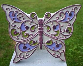 Concrete Butterfly Stepping Stone Butterfly Garden Decor Purple-Green