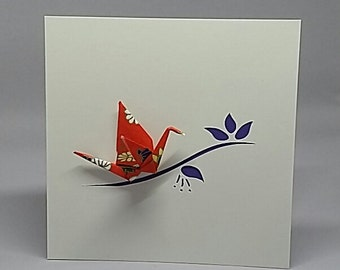 """Origami bird on the branch card with metallic and japanese papers """"model 6"""" iris"""