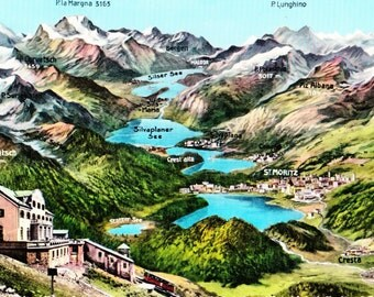"Vintage 1960s Color Postcard St. Moritz Mountains Muottas Muragl 3"" x 5"""