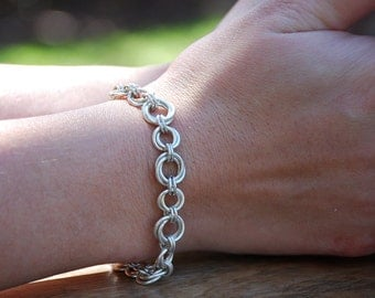 Sterling Silver Chainmaille Rosette Bracelet