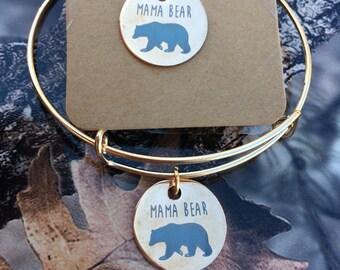 Mama Bear necklace and bangle bracelet