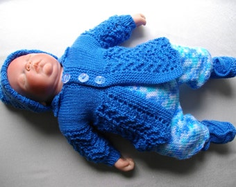 "Hand Knitted 3-4lb Baby Boy's or 15-16"" Reborn Dolls Matinee Set"