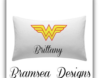 Personalized WONDER WOMAN Pillow Case...Makes a Great Gift....Great for Sleepovers/Birthdays/Bachelorette Party