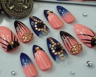 Blush pink and navy false nails with crystals • Handpainted False Nails • Fake Nails • Press on Nails • Stick on Nails