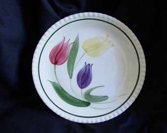 "Blue Ridge Plate TULIP TIME 9.25"" Lunch Dish Southern Potteries Candlewick Handpainted Red Yellow Purple Flowers Dinnerware (B16) 6703"