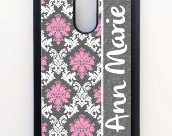 Personalized Rubber or Hard Case For LG G3 G4 Pink White Gray Damask