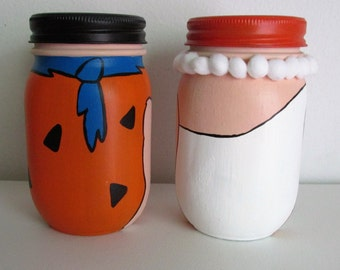 Hand-Painted Fred and Wilma Flintstone Inspired Mason Jar Piggy Banks, set of 2, pint-sized