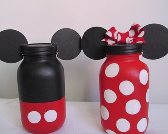 Hand-painted Mickey and Minnie Mouse inspired Mason Jar Piggy Banks, set of 2, Quart sized