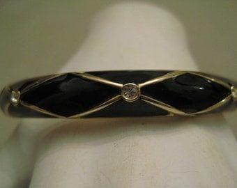 Un Worn Clamper Bracelet Rhinestones Black Enamel Gold Tone Metal Diamond Shapes