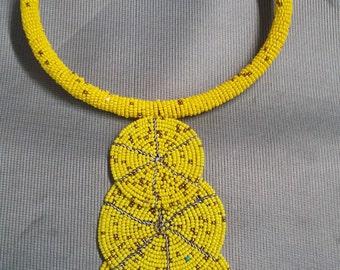 African Necklace, Hand-made jewelry, Tribal, Maasai Beadwork