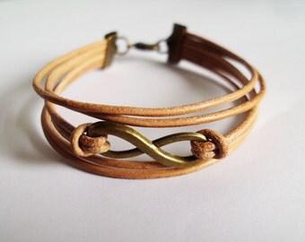 Infinity bracelets,Leather bracelets,Infinity leather,Men bracelets