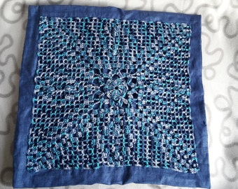 "Crochet Cushion cover ""Blue"" 40 x 40 cm"