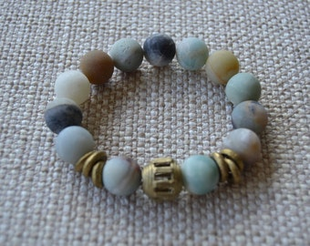 Amazonite Stretch Bracelet with Brass African Beads
