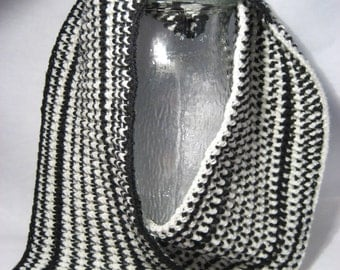 Cowl Infinity Scarf - Black and Cream (056-07W6)
