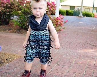 Teal Aztec Shorts Romper