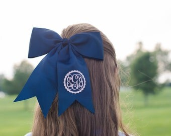 Navy Monogram Bow | Monogram Cheer Bow | Monogram Sports Bow | Little Girls Bow | Soccer Bow | Basketball Bow | Softball Bow | Monogram Bow