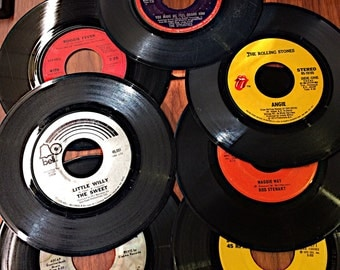 45RPM 1970's Records Seven Records best for craft supply rolling stones rod sterwart the hollies carly simon 45 rpm record easter gift