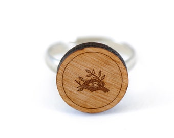Birds Nest Ring, Wooden Ring, Gift For Him or Her, Wedding Gifts, Groomsman Gifts, and Personalized