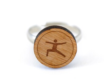 Yoga Warrior Pose Ring, Wooden Ring, Gift For Him or Her, Wedding Gifts, Groomsman Gifts, and Personalized