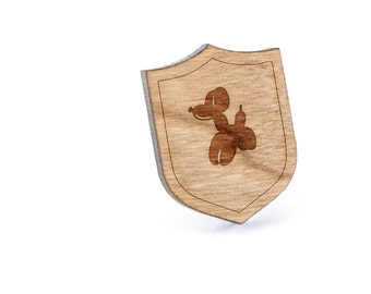Balloon Animal Lapel Pin, Wooden Pin, Wooden Lapel, Gift For Him or Her, Wedding Gifts, Groomsman Gifts, and Personalized
