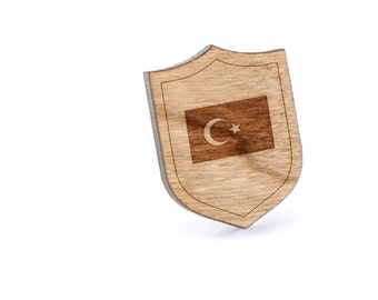 Turkish Flag Lapel Pin, Wooden Pin, Wooden Lapel, Gift For Him or Her, Wedding Gifts, Groomsman Gifts, and Personalized