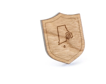 Rhode Island Lapel Pin, Wooden Pin, Wooden Lapel, Gift For Him or Her, Wedding Gifts, Groomsman Gifts, and Personalized