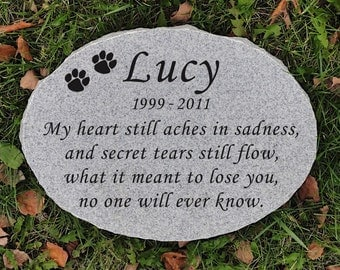 "15"" x 11"" x 2"" Granite Oval Pet Memorial Stone - Free Shipping"