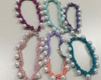 Crochet Pearl Bracelets