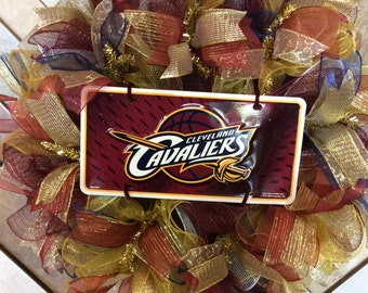 NBA Wreath-Cavs Wreath- Cleveland Cavaliers Wreath- Deco Mesh Wreath-Cavaliers Wreath