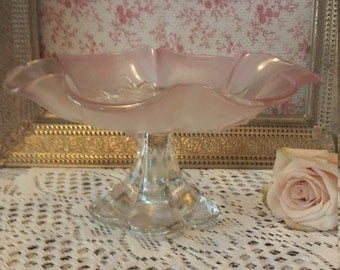Pink flower and frosted glass dessert serving stand Mikasa banana bowl Chrystal