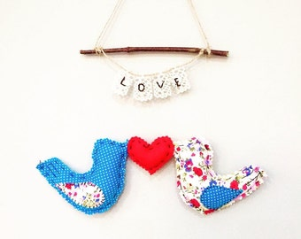 Hanging Lovebirds - Handmade - Original - Unique