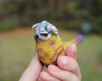 Skyrim- Yellow / purple Bird- Figurine- Handcrafted Sculpture- Dovahkiin Dragon Born