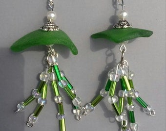 Genuine Sea Glass Earrings.....Green Jellyfish