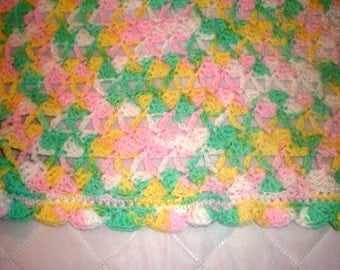 Variegated Pink, Yellow, Green, and White Baby Afghan