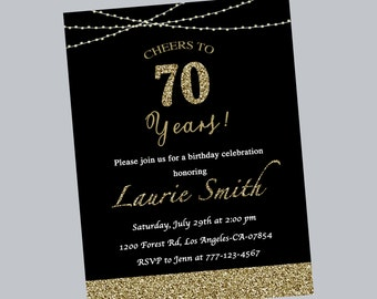 70th birthday invitation,birthday invitation,birthday party,surprise birthday,glitter,black,birthday invite,any age,printable,digital file